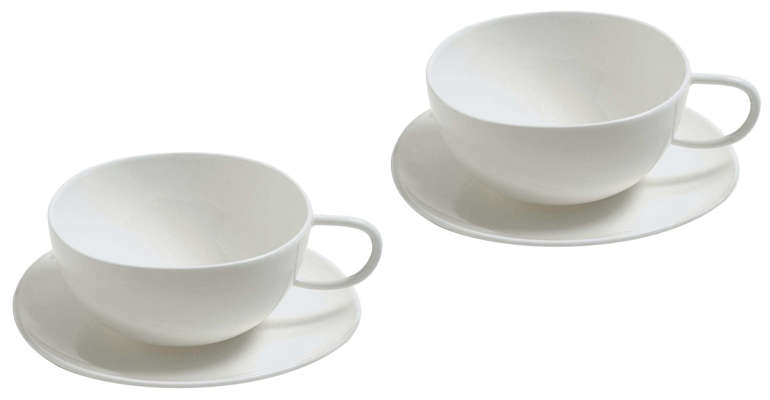 Tavola - Tazze e Boccali - Tazza da tè Fruit basket - Set 2 tazze + 2 piattini di Alessi - Bianco - Porcellana Bone China