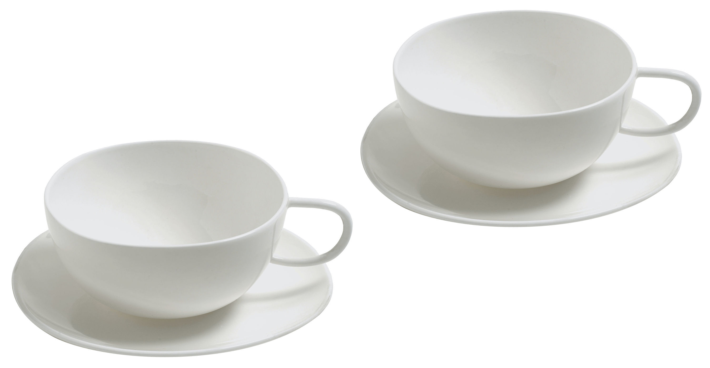Tischkultur - Tassen und Becher - Fruit basket Teetasse 2 Tassen mit 2 Untertassen - Alessi - Weiß - chinesisches Weich-Porzellan
