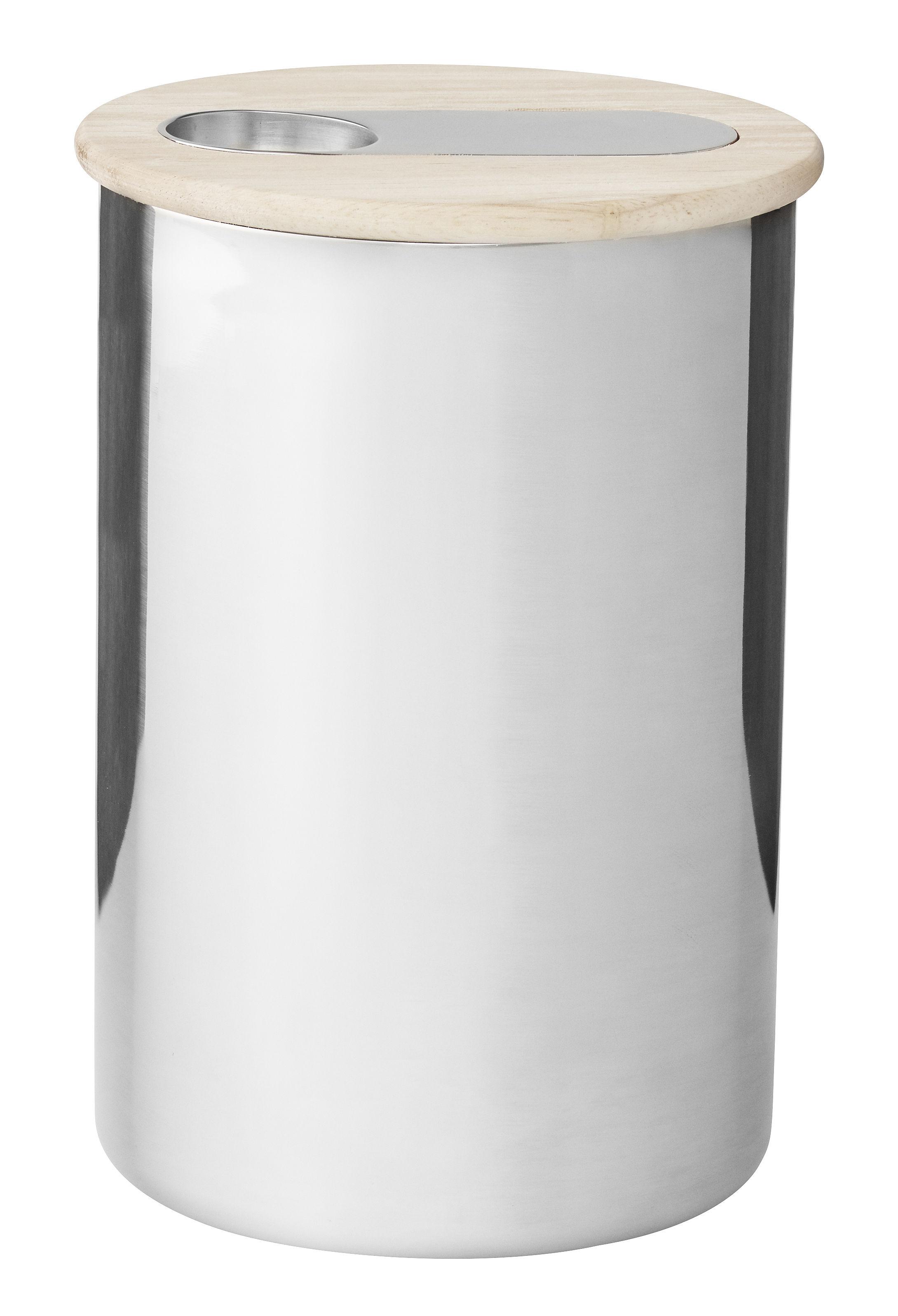 Cucina - Lattine, Pentole e Vasi - Contenitore ermetico Scoop / Per caffé - Cucchiaio integrato - Stelton - 500 gr / Acciaio & legno - Acciaio inossidabile lucido, Gomma, Legno