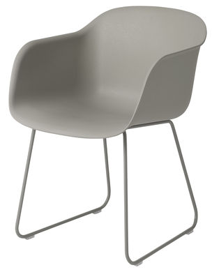 Furniture - Armchairs - Fiber Armchair - / Sled legs by Muuto - Grey - Painted steel, Recycled composite material