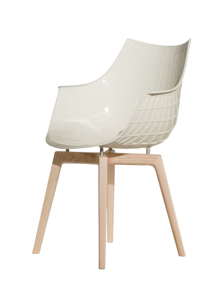 Furniture - Chairs - Meridiana Armchair - / 4 wooden feet by Driade - White / Natural ash - Ashwood, Polycarbonate