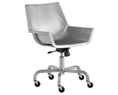 Furniture - Office Chairs - Sezz Armchair on casters by Emeco - Brushed aluminium - Brushed aluminium