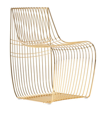 Furniture - Armchairs - Sign Filo Armchair - / Metal wires by MDF Italia - Gold chromed - Galvanized steel