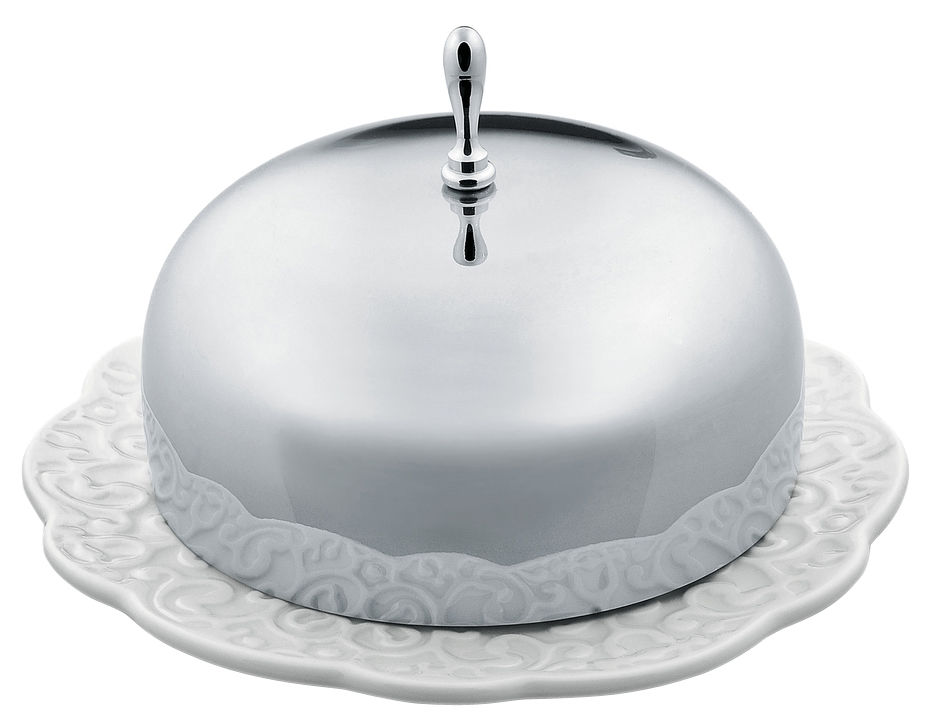 Tableware - Kitchen Accessories - Dressed Butter dish by Alessi - White / Steel - China, Stainless steel