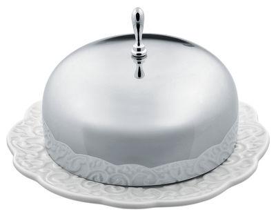 Tischkultur - Praktische Accessoires - Dressed Butterdose - Alessi - Weiß / Stahl - Porzellan, rostfreier Stahl