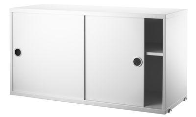 Mobilier - Etagères & bibliothèques - Caisson String® System / 2 portes coulissantes - L 78 x P 30 cm - String Furniture - Blanc - Acier inoxydable, MDF laqué