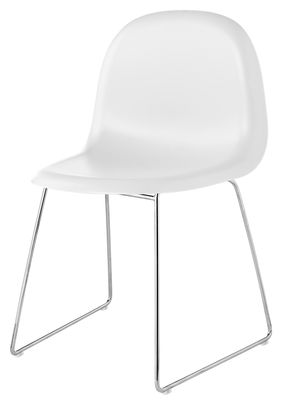 Furniture - Chairs - 3D Chair - Plastic shell & metal legs by Gubi - White shell / Chrome legs - Chromed steel, Polymer