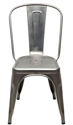 Mobilier - Chaises, fauteuils de salle à manger - Chaise empilable A / Acier brut - Tolix - Acier brut verni satiné - Acier brut verni satiné mat