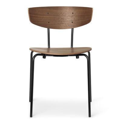 Mobilier - Chaises, fauteuils de salle à manger - Chaise empilable Herman / Structure métal - Ferm Living - Noyer - Acier peinture poudre, Contreplaqué de noyer
