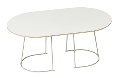 Furniture - Coffee Tables - Airy Coffee table - Medium -  88 x 51,5 cm by Muuto - Off white - Painted steel, Plywood, Stratified