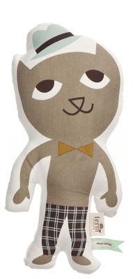 Interni - Per bambini - Cuscino Mr. Cat di Ferm Living - Gatto / Multicolore - Cotone