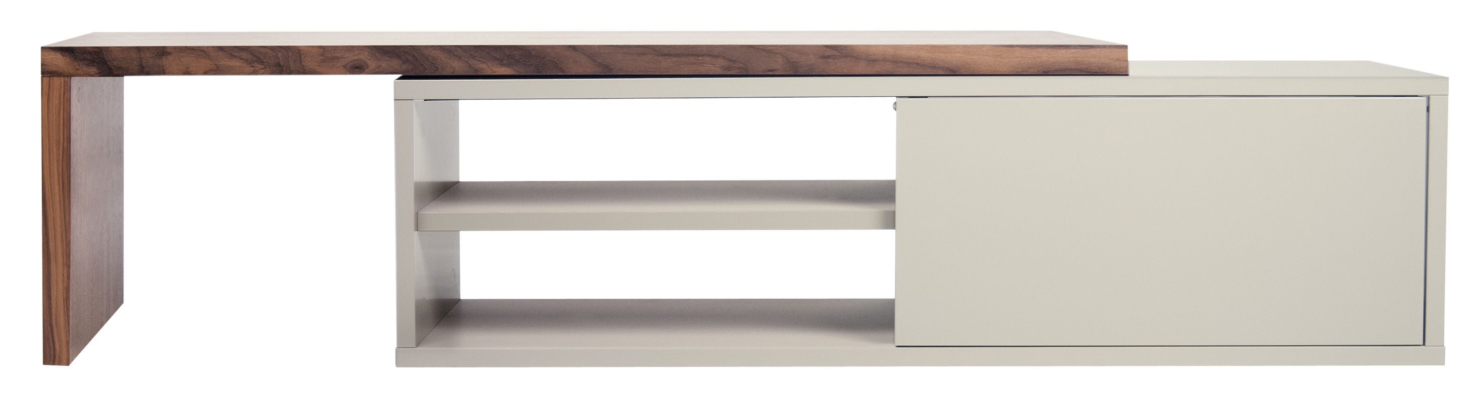 Furniture - TV Stands - Slide Extensible TV cabinet - / Swivel - L 110 to 203 cm by POP UP HOME - Grey / Walnut - Painted honeycomb panels, Walnut veneer