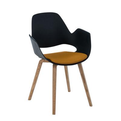 Mobilier - Chaises, fauteuils de salle à manger - Fauteuil Falk / Déchets ménagers recyclés - Galette d'assise & pieds chêne - Houe - Noir & tissu Ambre / Pieds chêne - Chêne massif huilé FSC, Plastique recyclé, Tissu