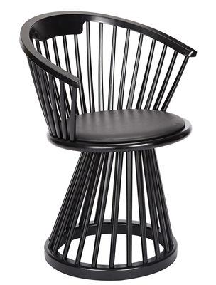 Mobilier - Chaises, fauteuils de salle à manger - Fauteuil Fan / H 78 cm - Bois & cuir - Tom Dixon - Noir / Assise cuir noir - Bouleau teinté, Cuir