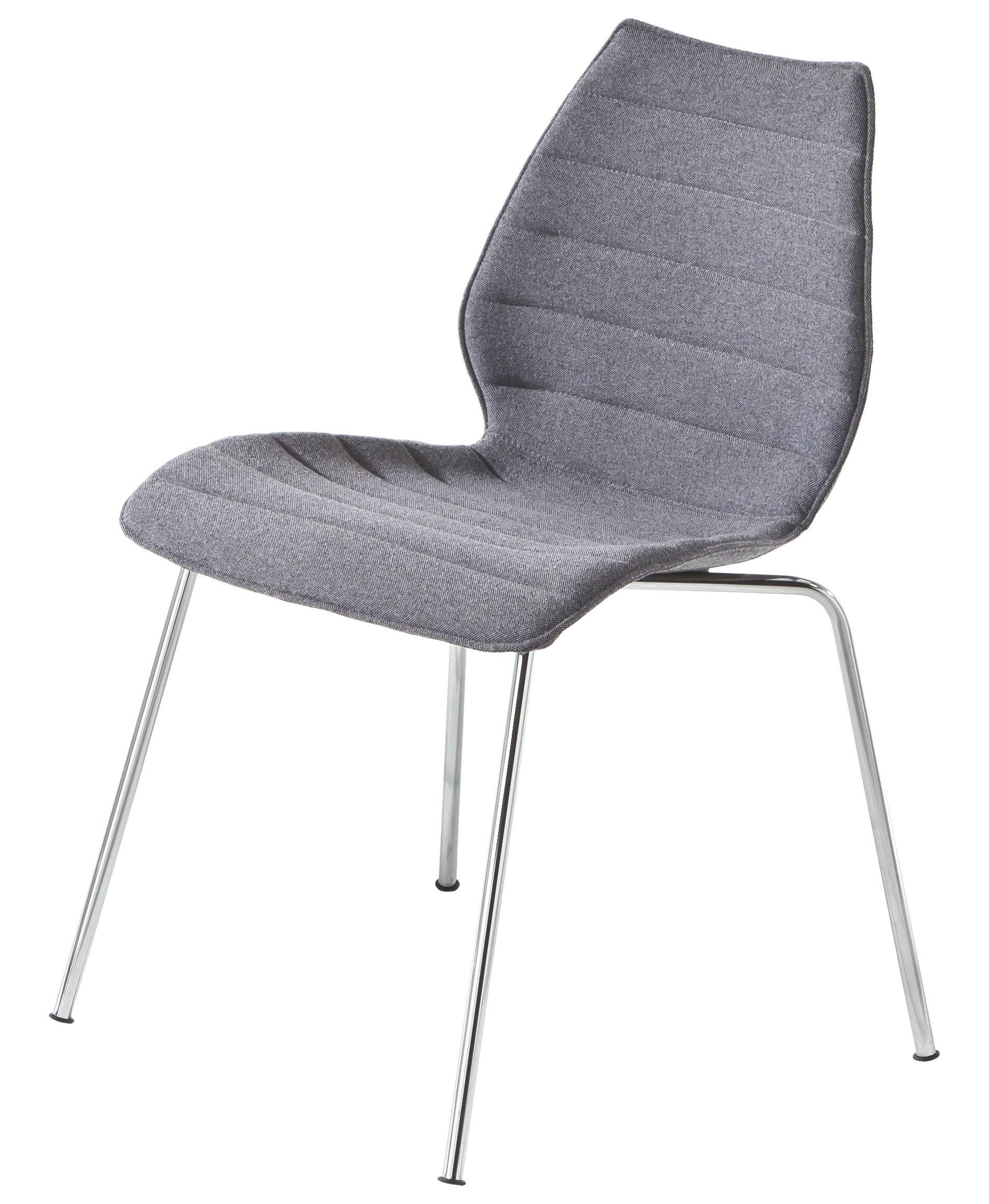 Möbel - Maui Soft Gepolsterter Stuhl /Trevira-Stoff - Kartell - Grau - Polypropylen, Stahl, Tissu Trevira