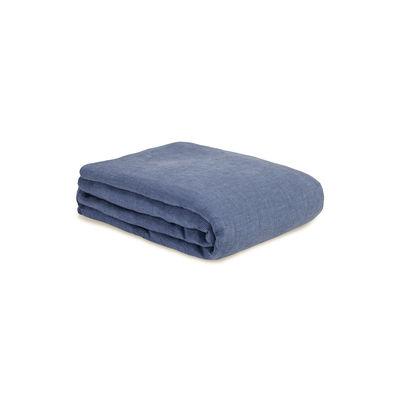 Interni - Tessili - copripiumino 140 x 200 cm - / 140 x 200 cm - Lino lavato di Au Printemps Paris - Mini pied-de-poule blu - Lin lavé