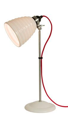 Luminaire - Lampes de table - Lampe de table Hector Bibendum / H 57 cm - Porcelaine striée - Original BTC - Blanc strié / Acier & câble rouge - Métal chromé, Porcelaine