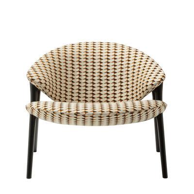 Furniture - Armchairs - Oliva Tulip Low armchair - / Wood & fabric by Zanotta - Orange / Black wood - Cotton, Lacquered maple, Polyester fibre, Polyurethane foam, Steel