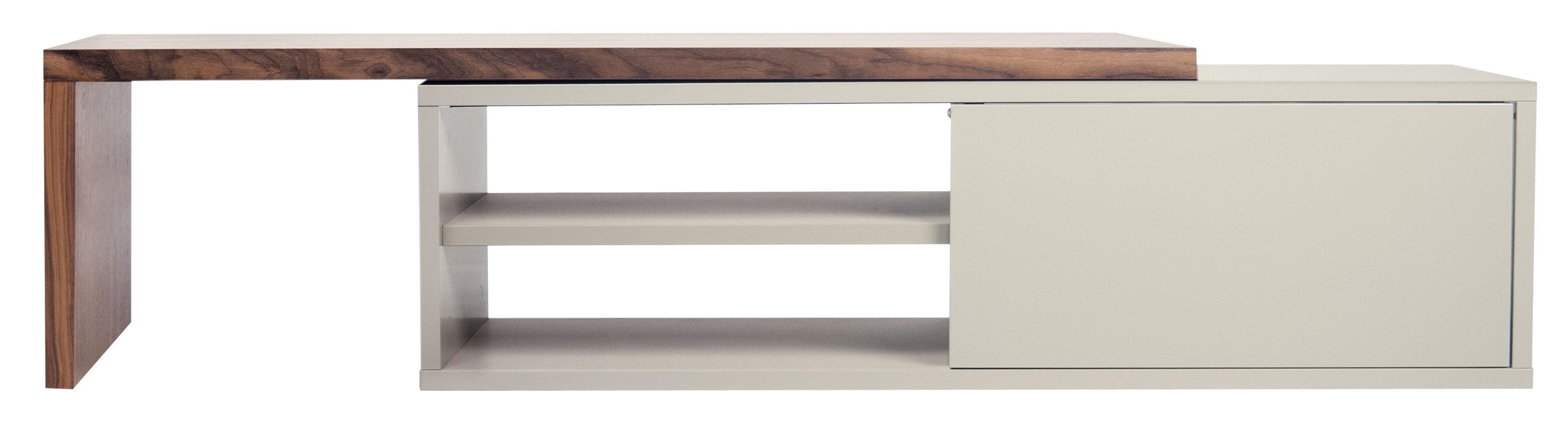 Mobilier - Meubles TV - Meuble TV extensible Slide / Pivotant - L 110 à 203 cm - POP UP HOME - Gris / Noyer - Panneaux d'aggloméré peint, Placage  noyer