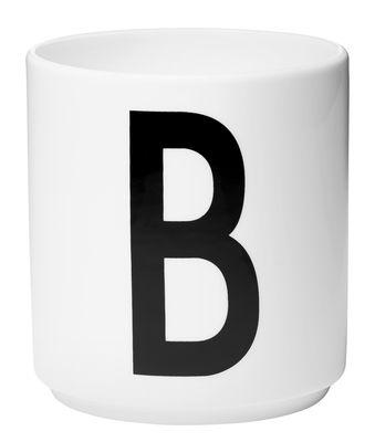 Mug Arne Jacobsen / Porcelaine - Lettre B - Design Letters blanc en céramique