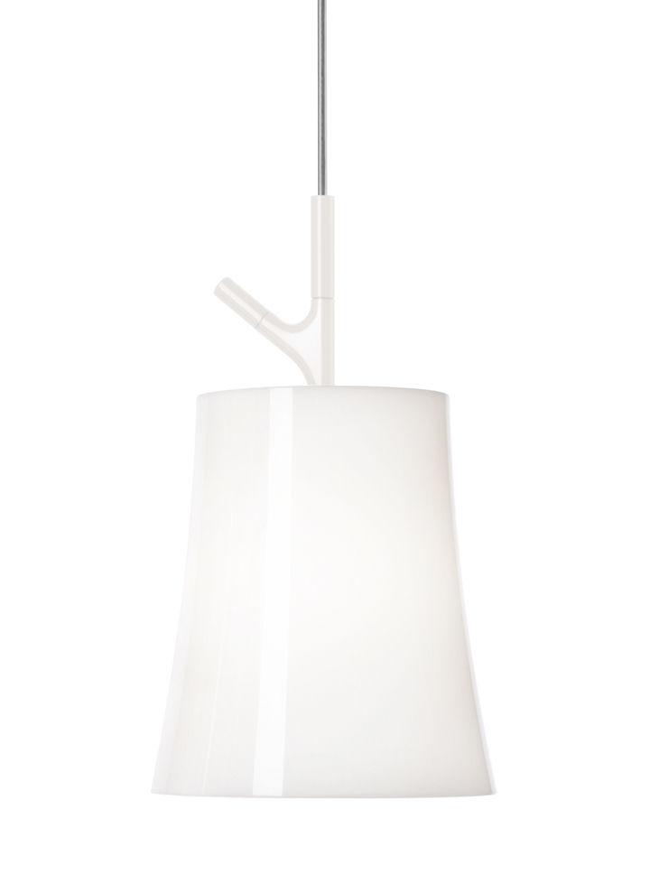 Lighting - Pendant Lighting - Birdie Piccola Pendant - Ø 17 cm by Foscarini - White - Polycarbonate, Varnished stainless steel