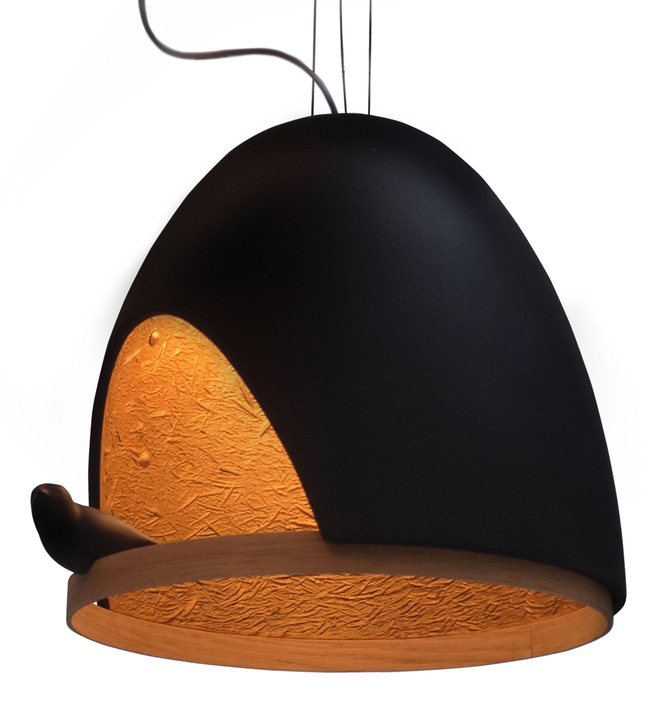 Lighting - Pendant Lighting - Oiseau Pendant by Compagnie - Black / Gold inside - Oak, Plaster