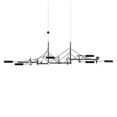 Leuchten - Pendelleuchten - Tinkering Large Pendelleuchte / LED - 139 x 47 cm / Metall - Moooi - L 139 cm / Schwarz & Messing - Messing, Stahl