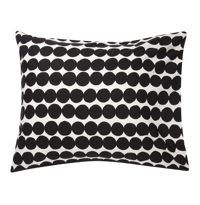 Decoration - Bedding & Bath Towels - Räsymatto pillowcase - / 65 x 65 cm by Marimekko - Räsymatto / Black & white - Cotton