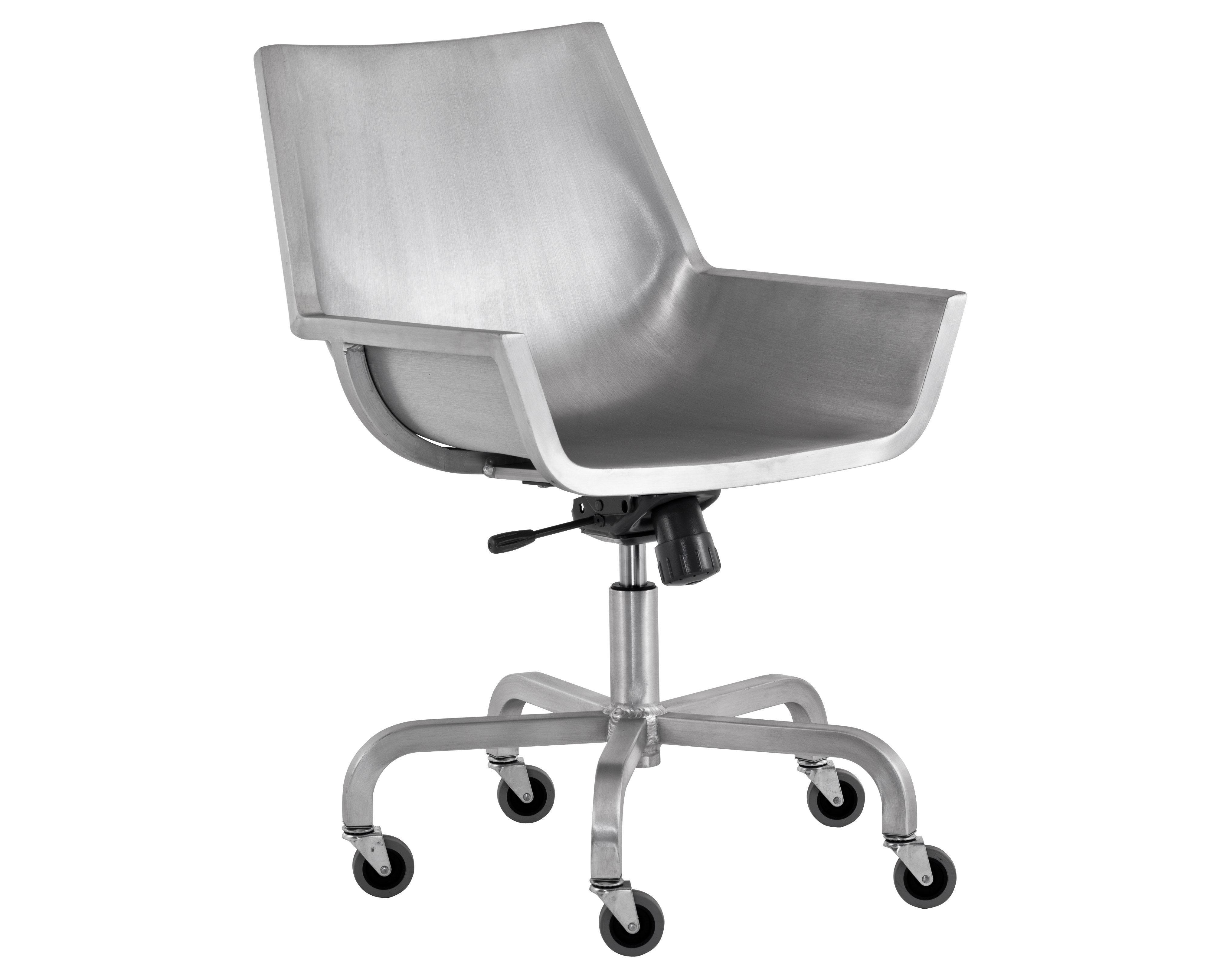 Arredamento - Sedie ufficio - Poltrona a rotelle Sezz di Emeco - Alluminio spazzolato - Aluminium recyclé finition brossé