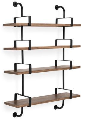 Arredamento - Scaffali e librerie - Scaffale Demon - / Matégot - L 95 x H 135 cm - Riedizione 54' di Gubi - Noce / Montanti neri - metallo verniciato, Noce massello