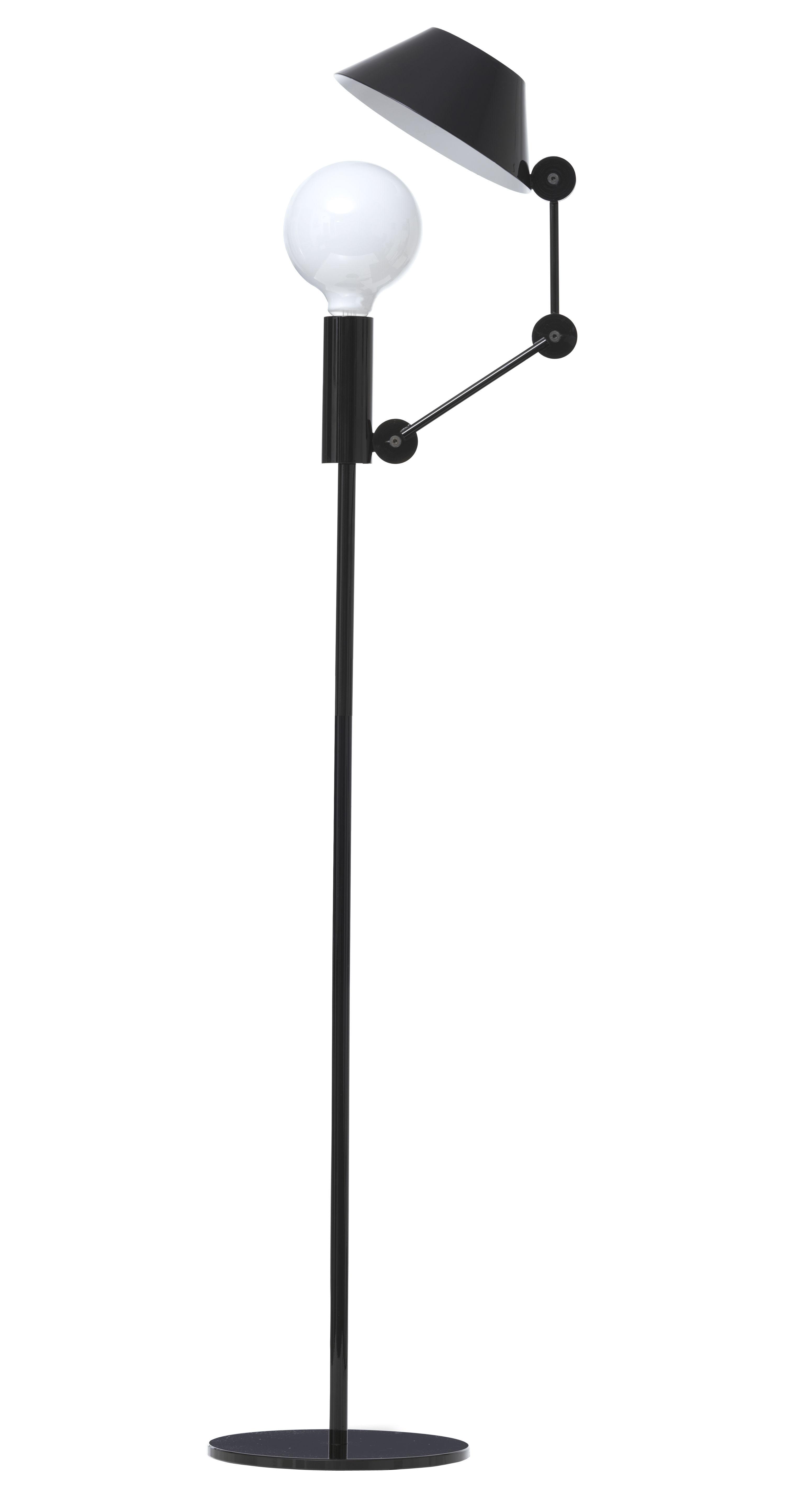 Leuchten - Stehleuchten - Mr. Light tall Stehleuchte - Nemo - H 135 cm - glänzend schwarz / Innenseite des Lampenschirms glänzend weiß - Metall