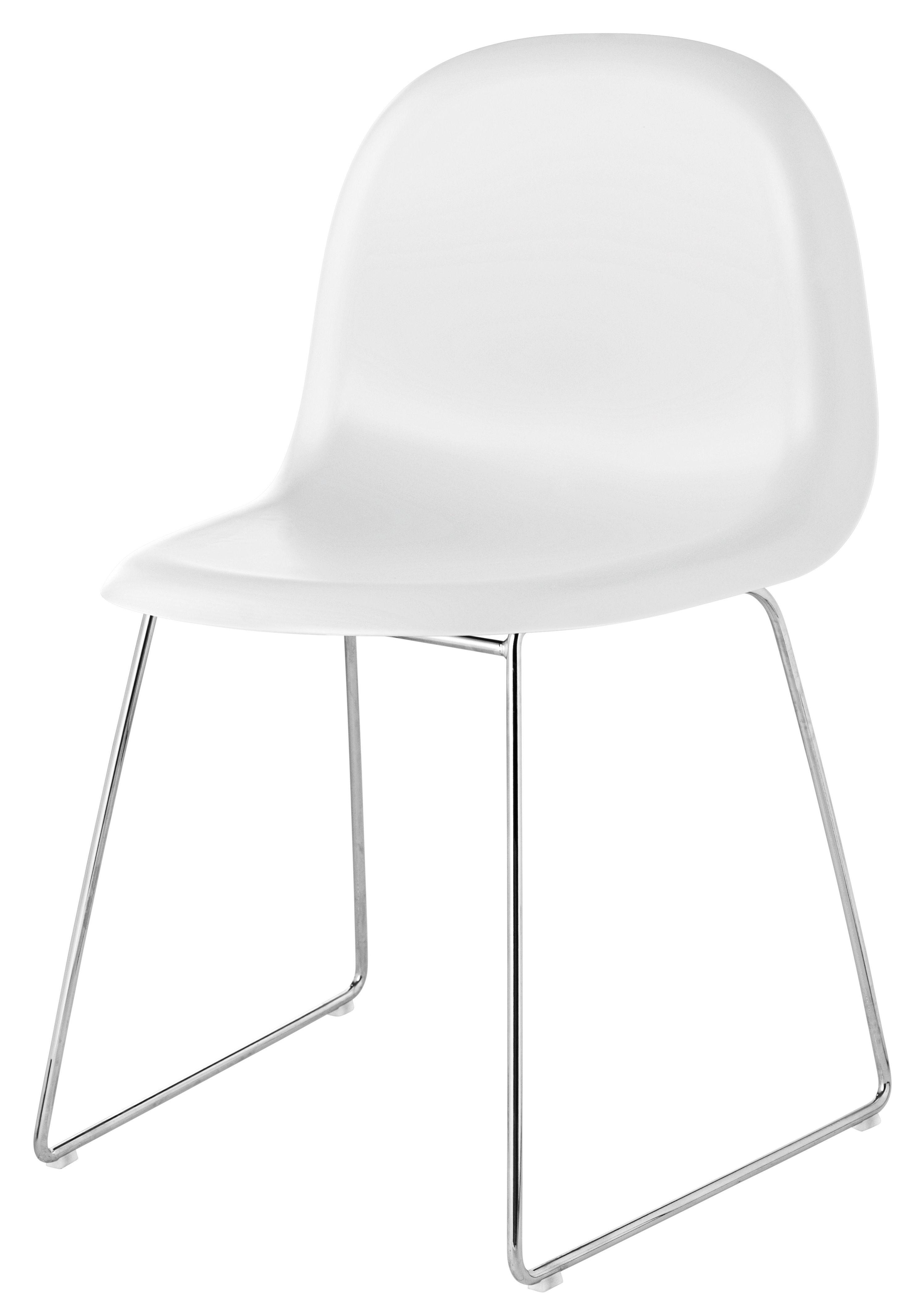 Möbel - Stühle  - 3D Stuhl Kufengestell - HiRek-Schale - Gubi - Schale weiß / Gestell verchromt - polymerbeschichtete Holzfaserplatte, verchromter Stahl