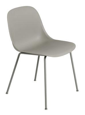 Möbel - Stühle  - Fiber Stuhl - Muuto - Grau / Stuhlbeine grau - Recyceltes Verbundmaterial, Stahl