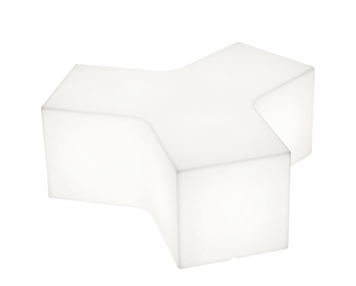 Mobilier - Tables basses - Table basse lumineuse Ypsilon Indoor / Pouf - L 120 cm - Plastique - Slide - Blanc - Intérieur - polyéthène recyclable