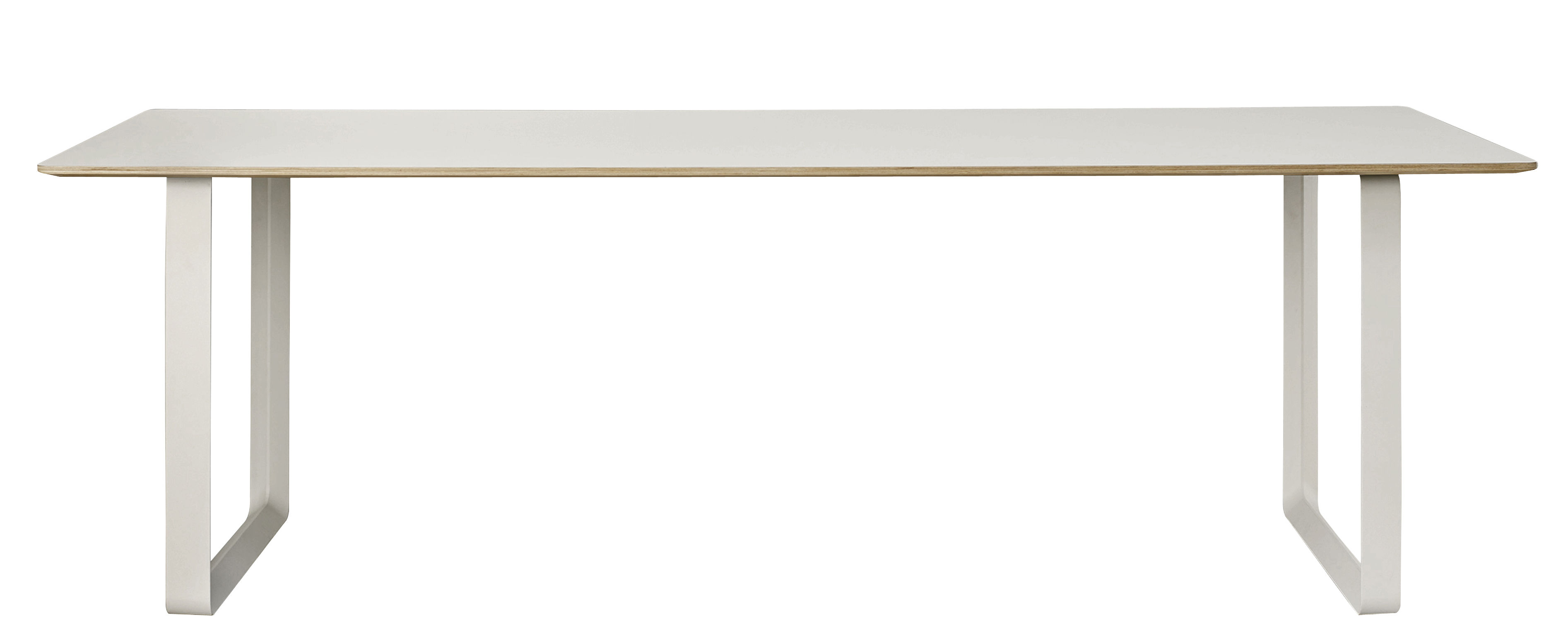 Mobilier - Tables - Table rectangulaire 70-70 XL / 255 x 108 cm - Muuto - Gris - Aluminium, Contreplaqué, Linoléum