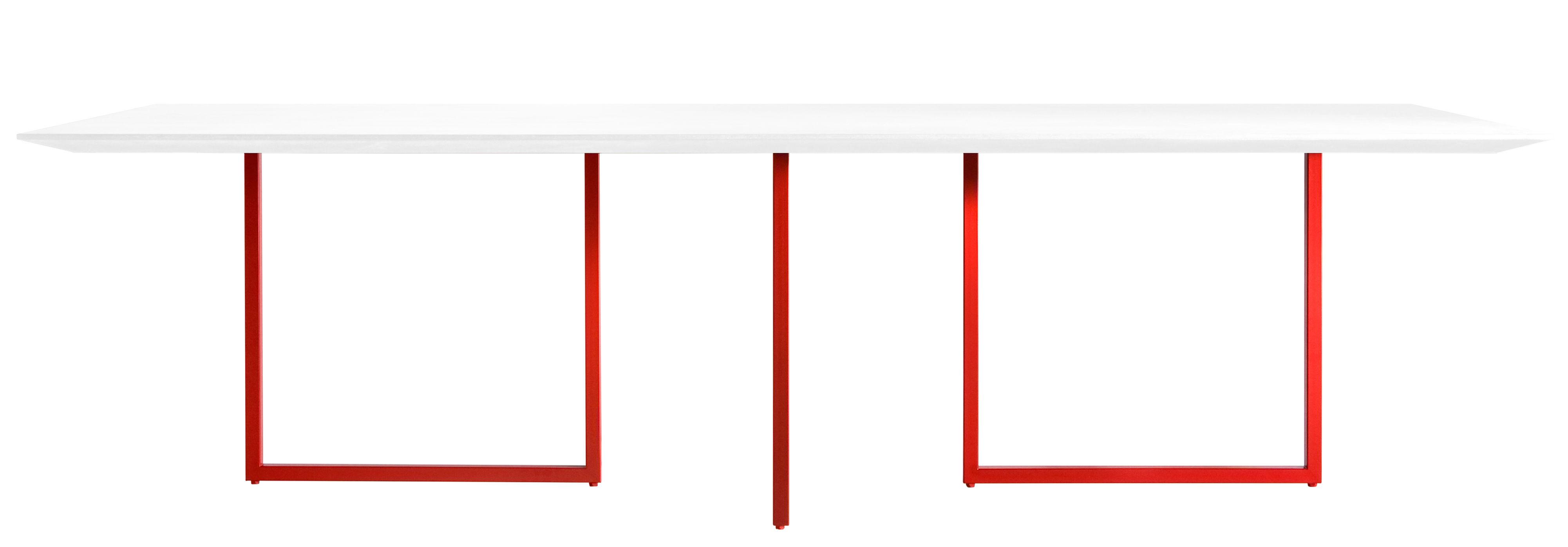 Mobilier - Tables - Table rectangulaire Gazelle / 240 x 90 cm - Driade - Plateau blanc / Pied rouge - Acier, Laminé, MDF