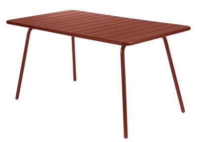 Table Luxembourg / 6 personnes - 143 x 80 cm - Aluminium - Fermob ocre rouge en métal