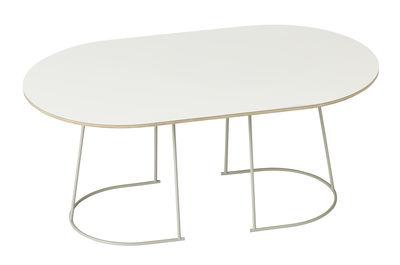 Arredamento - Tavolini  - Tavolino basso Airy / Medium -  88 x 51,5 cm - Muuto - Bianco sporco / Gamba bianco sporco - Acciaio verniciato, Compensato, Stratificato