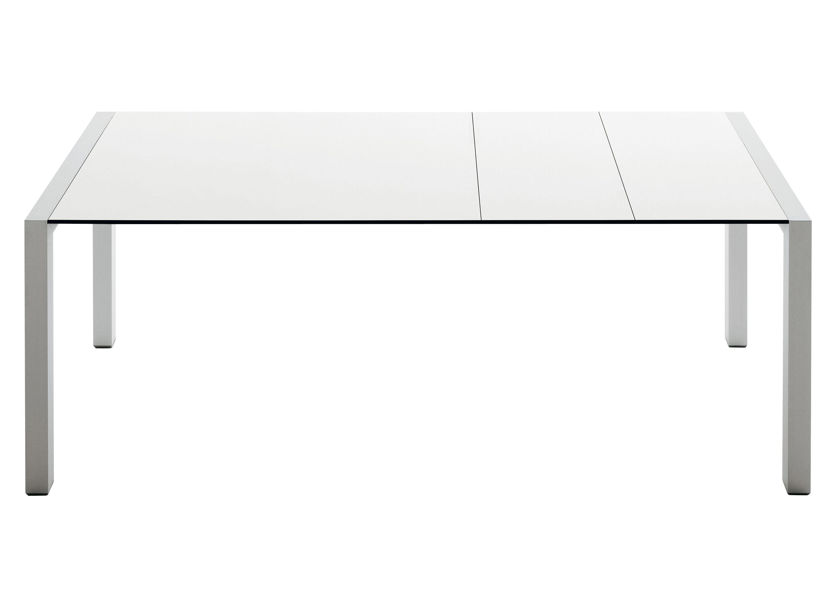 Outdoor - Tavoli  - Tavolo con prolunga Sushi Outdoor - L 177 - 290 cm di Kristalia - Piano grigio chiaro / piedi grigio antracite - Alluminio laccato