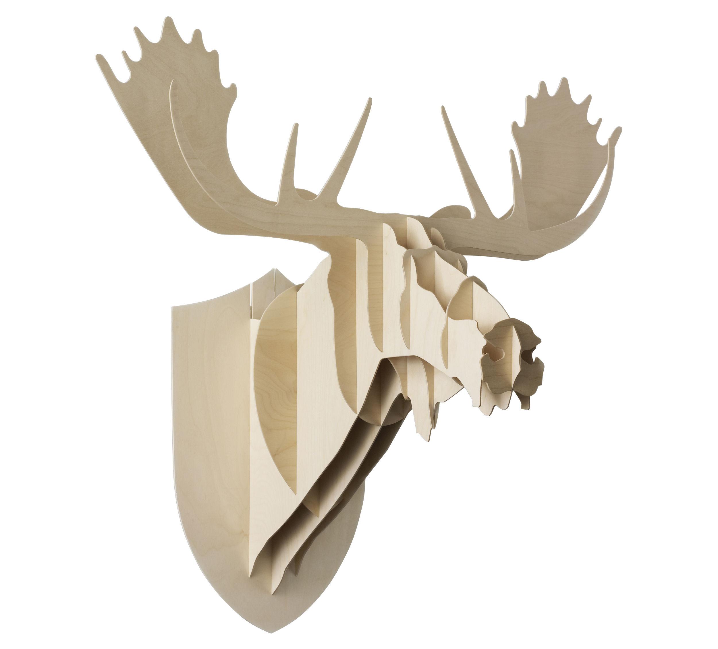 Déco - Tendance humour & décalage - Trophée Elan - H 86 cm - Moustache - H 86 cm - Bois naturel - Contreplaqué de bouleau