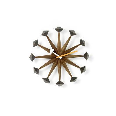 Decoration - Wall Clocks - Polygon Clock Wall clock - / By George Nelson, 1948-1960 / Ø 43 cm by Vitra - Walnut - Solid walnut