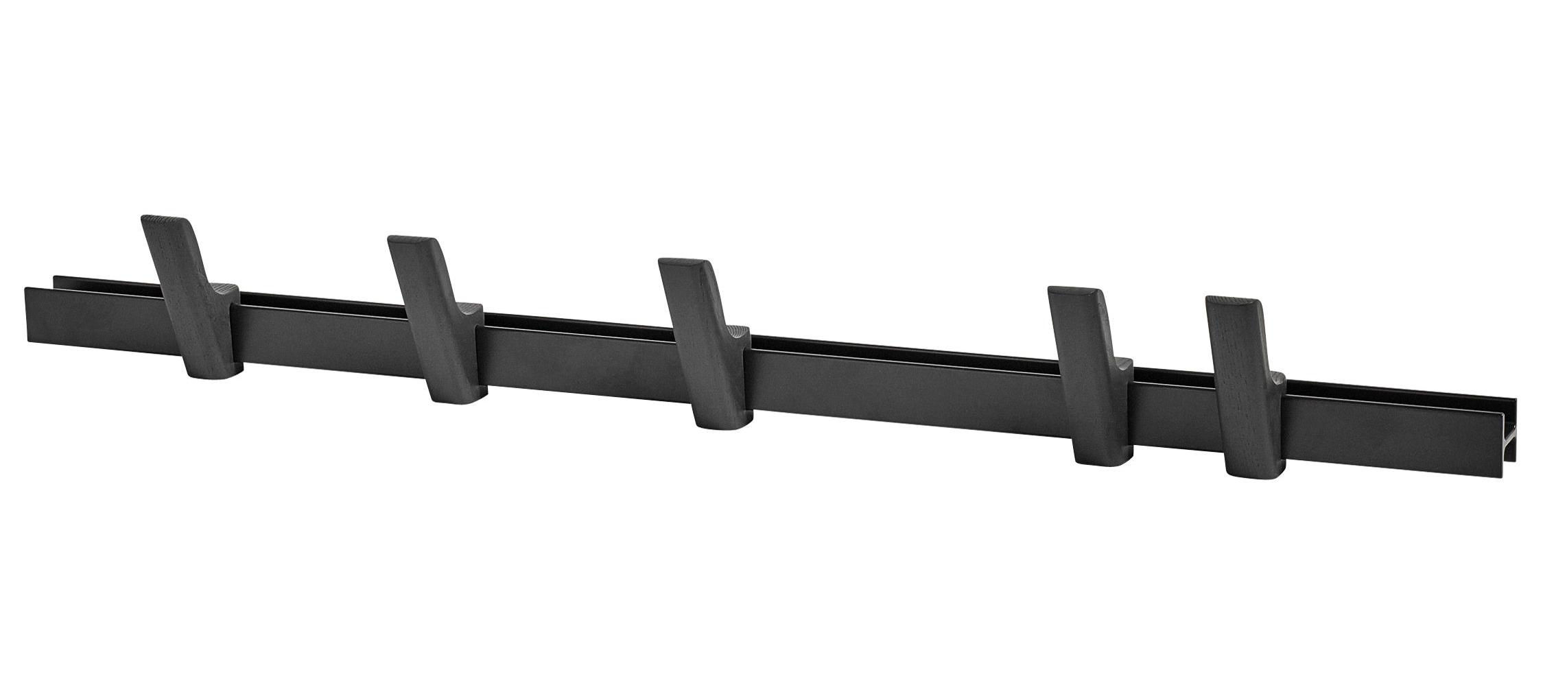 Möbel - Garderoben und Kleiderhaken - Beam Wandgarderobe / L 90 cm - mit 5 Garderobenhaken - Hay - Graphitschwarz / Haken graphitschwarz - Aluminium, bemalte Esche
