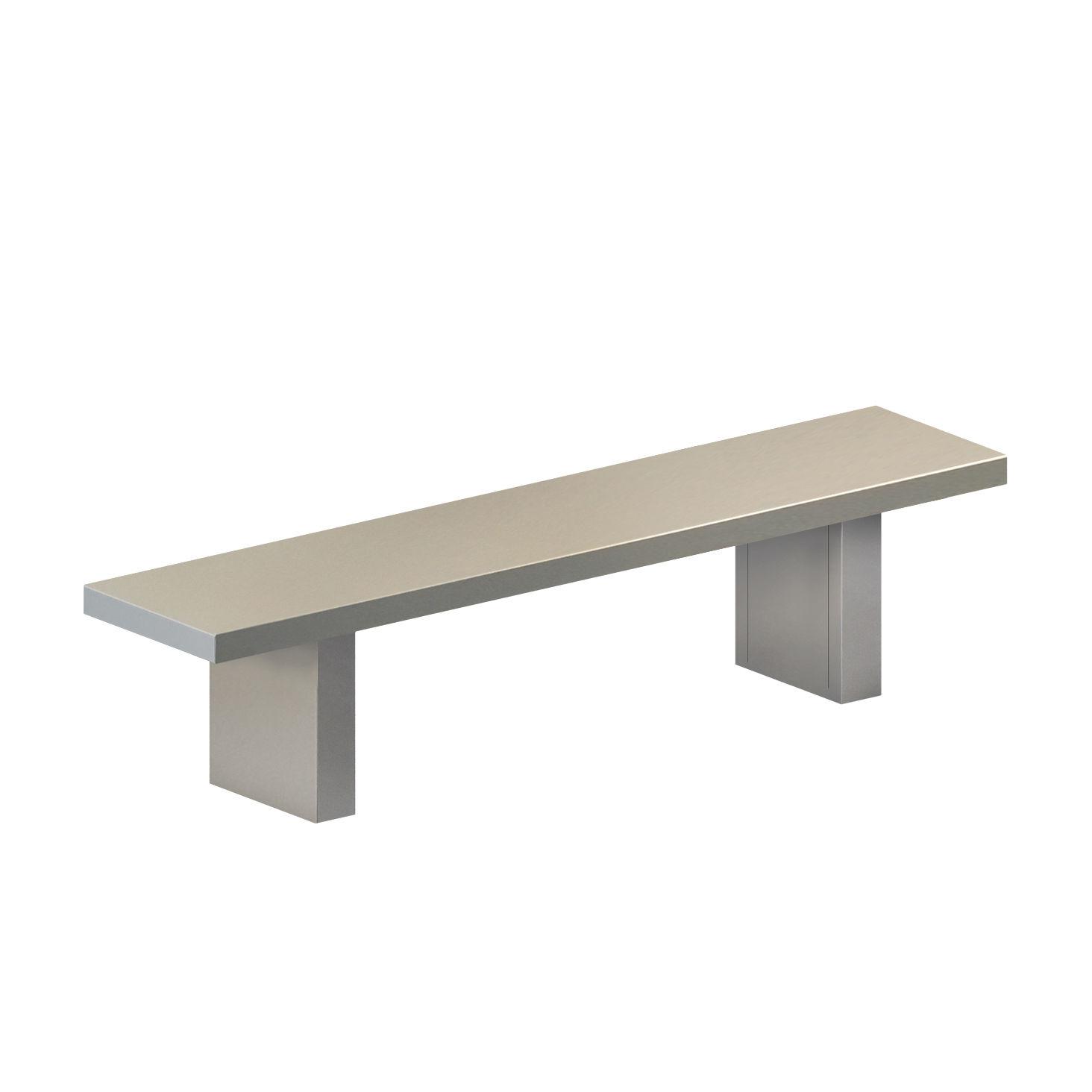 Möbel - Bänke - Tommaso OUTDOOR Bank / L 160 cm - Stahl lackiert - Zeus - L 160 cm / Zementgrau - Acier phosphaté peint