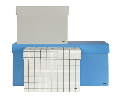 Accessoires - Accessoires bureau - Boîte Box Box / Set 3 boîtes - Hay - Bleu / Gris clair / Quadrillé noir - Carton