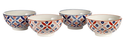 Tableware - Bowls - Petal Mix Bowl - Set of 4 - Hand painted by Pols Potten - Blue / Red - Enamelled china