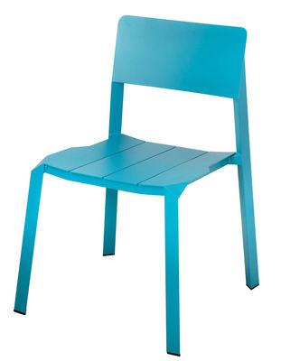 Chaise empilable Tri tube Aluminium Spécimen Editions turquoise en métal