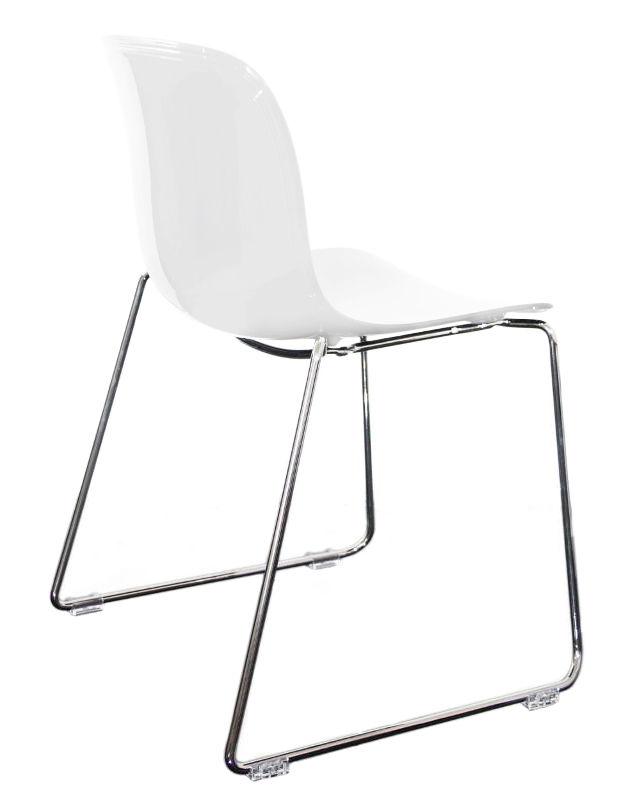 Mobilier - Chaises, fauteuils de salle à manger - Chaise empilable Troy / Plastique & pied luge - Magis - Blanc / Pieds chromés - Acier chromé, Polycarbonate