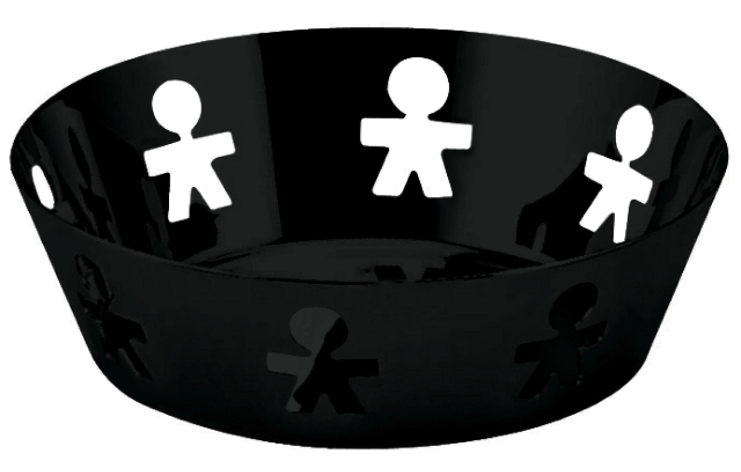 Accessoires - Accessoires salle de bains - Corbeille Girotondo / Ø 18 cm - A di Alessi - Noir - Ø 18,1 cm - Acier inoxydable