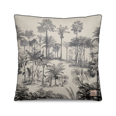 Decoration - Cushions & Poufs - Tresors Cushion - / Velvet - 45 x 45 cm by Beaumont - Palmiers no. 2 / Black & White - Polyester, Velvet