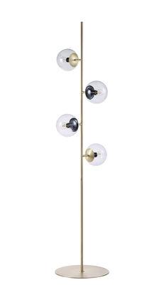 Illuminazione - Lampade da terra - Lampada a stelo Orb - / 4 diffusori - H 161,5 cm di Bolia - Ottone - Ottone, Tessuto, Vetro